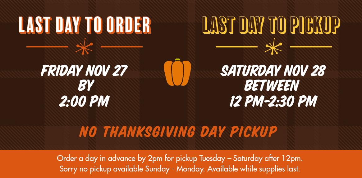Order Deadlines & Pickup Dates